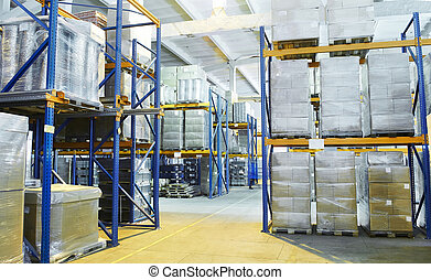 warehouse with rack arrangement