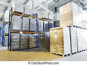 warehouse with shelves rack arrangement - rack stack...