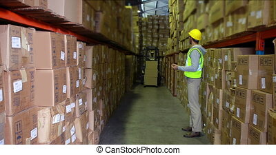 Warehouse worker directing forklift driver in a large warehouse