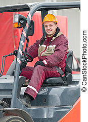 warehouse worker driver in  forklift
