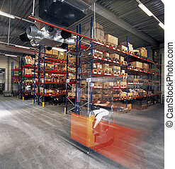 warehouse worker driver with forklift in warehouse