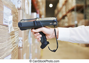 warehouse worker hand with scanner - worker hand man ...