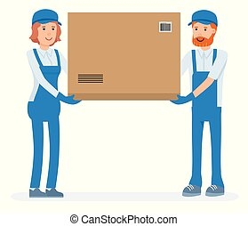 Warehouse worker holding package on the shoulder for delivery to customer. Warehouse workers cartoon character set. Vector flat-style illustration
