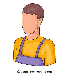 Warehouse worker icon, cartoon style