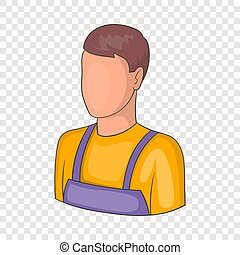 Warehouse worker icon, cartoon style