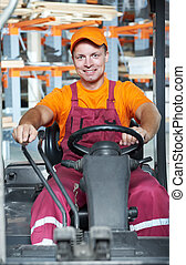 warehouse worker in forklift loader