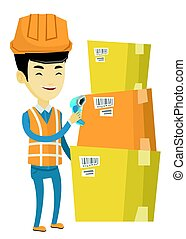 Asian warehouse worker scanning barcode on box. Warehouse worker checking barcode of box with a scanner. Warehouse worker with scanner. Vector flat design illustration isolated on white background.