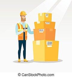 Warehouse worker scanning barcode on box. - Caucasian ...