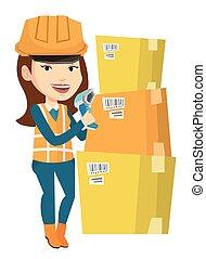 Caucasian warehouse worker scanning barcode on box. Warehouse worker checking barcode of box with a scanner. Warehouse worker with scanner. Vector flat design illustration isolated on white background