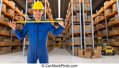 Warehouse worker with tape measure a