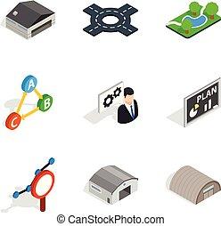 Warehouseman icons set, isometric style - Warehouseman icons...