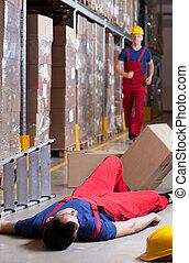warehouseman, nach, unglück, an, höhe