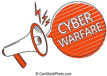 warfare., concept, hackers, texte, voleur, cyber, stalker, haut-parleur, système, virtuel, message., parole, numérique, orange, porte voix, bulle, guerre, raies, signification, important, attaques, écriture