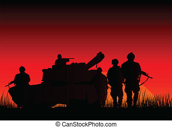 Warfare - Vector illustration of soldiers and a tank