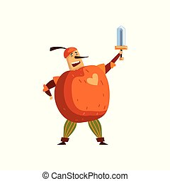 Warlike apple cartoon character with sword, man in fruit costume vector Illustration on a white background