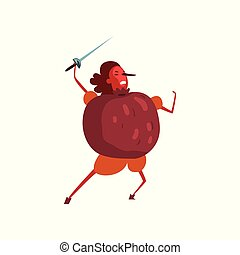 Warlike pomegranate cartoon character with sword, man in fruit costume vector Illustration on a white background