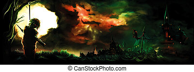 warlock, horreur, vampire, pendre, bannière, ou