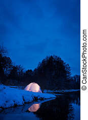 Warm accommodation in a cold snowy night