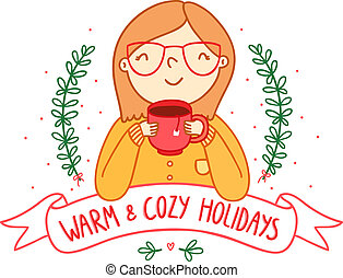Warm and cozy holidays card