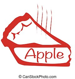 Warm Apple Pie - Cartoon depiction of a hot apple pie over a...