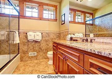 Warm bathroom interior
