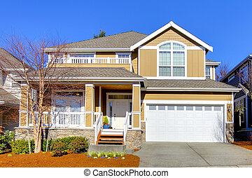 Warm beige house with spring landscape. - Large new house...