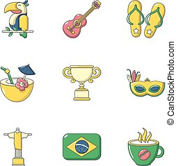 Warm brazil icons set, cartoon style