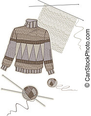 Warm brown wool sweater and collection of women's needlework