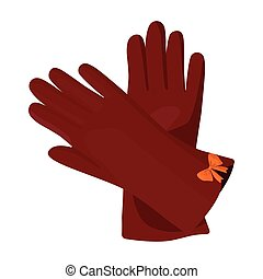 Warm burgundy gloves for hands. Female winter accessory.  Woman clothes single icon in cartoon style vector symbol stock illustration.