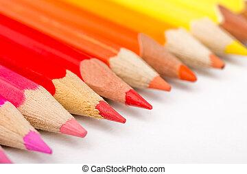 Warm Color Pencils Arranged In Line
