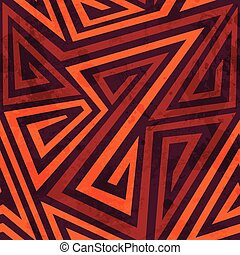 warm color tribal seamless pattern with grunge effect