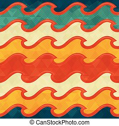 Warm color wave seamless pattern