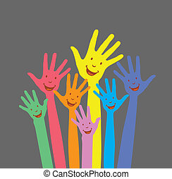 warm colorful up hands for use
