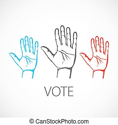 warm colorful up hands logo, vector illustration vote