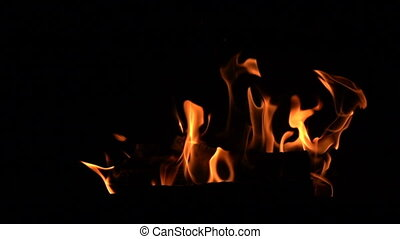 Warm cozy burning fire in the fireplace. - Warm cozy burning...