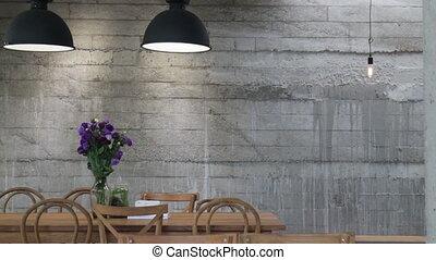 Warm cozy coffee shop surrounding, stock footage