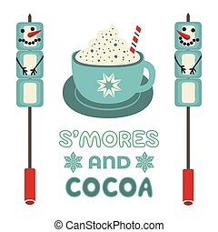 Warm cozy smores and cocoa station welcome sign vector icon. Roast marshmallow snowman hot cocoa chocolate cup bar entertaining illustration. Seasonal outdoor activity background. Winter campfire fun