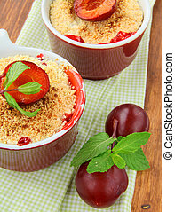 warm crumble dessert with plums