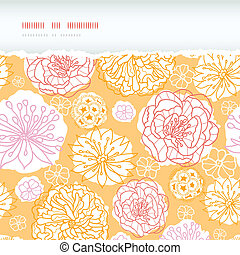 Warm day flowers horizontal decor torn seamless pattern...