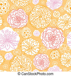 Warm day flowers seamless pattern background - Vector warm...