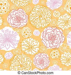 Warm day flowers seamless pattern background - Vector warm...