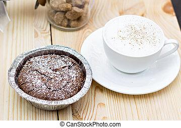 Warm dessert chocolate cake
