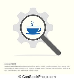 Warm drink icon Search Glass with Gear Symbol Icon template...