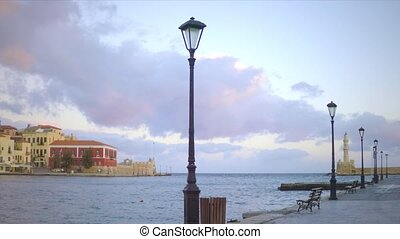 warm early morning in the old port of hania.Crete in spring .View to the lighthouse