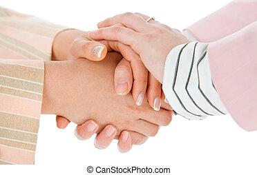 warm female business handshake