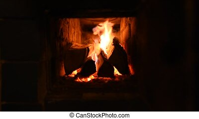 Warm fire burning in the Fireplace