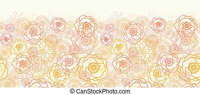 Warm flowers horizontal seamless pattern background