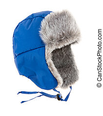 Warm fur cap on a white background