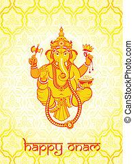 Ganesha postcard - Warm Ganesha postcard for Indian Onam...