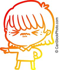 warm gradient line drawing of a annoyed cartoon girl making accusation